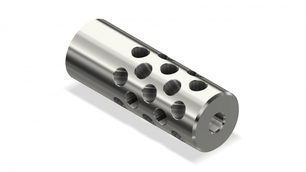 Muzzle Brake | OD:22 mm | L:60 mm | M18x1-6H | Cr-Moly Steel