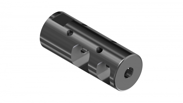 Muzzle Brake (2-chamber) | OD:24 mm | L:62 mm | 1/2-28 UNEF-2B | Cr-Moly Steel